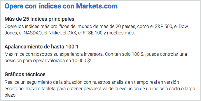 invertir en índices en markets.com