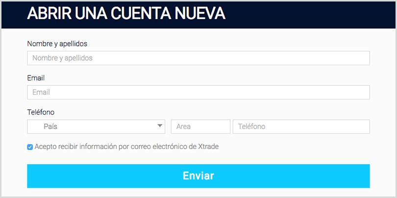 abrir una cuenta demo en el broker Xtrade