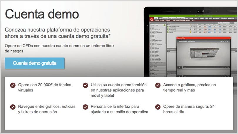 cuenta demo para operar en IG