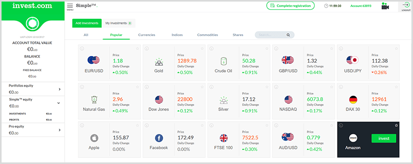 plataforma de trading simple en Invest